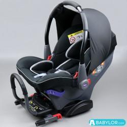 Kindersitz Klippan Dinofix (schwarz mit grauen Nähten) mit Isofix-Befestigung