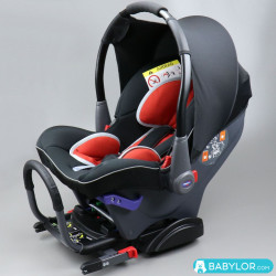 Kindersitz Klippan Dinofix negro y rojo mit Isofix-Befestigung