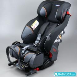 Kindersitz Klippan Triofix Recline schwarz und orange mit Isofix-Befestigung